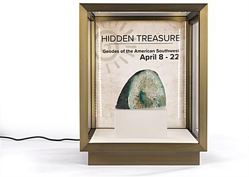 Brushed stainless steel tabletop display vitrine with brass finish