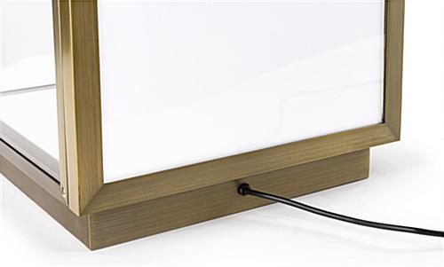 Tabletop display vitrine with 7.5-foot power cord