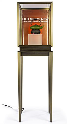 Brass colored stainless steel vitrine top pedestal table showcase