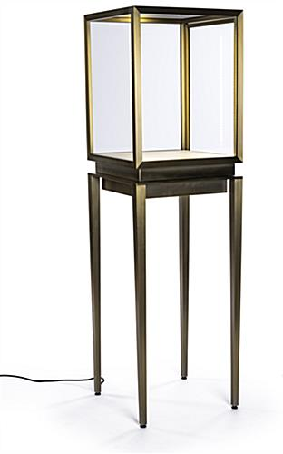 Vitrine top pedestal table showcase with interior LED lighting