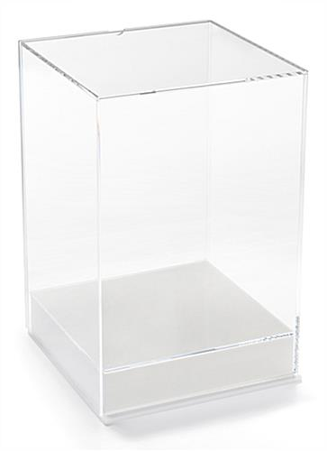 Full view tabletop acrylic display box with label