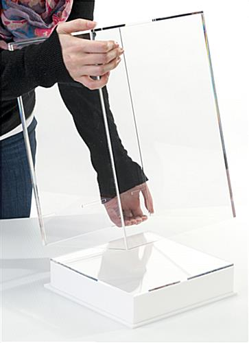 Tabletop acrylic display box with label & lift-off clear top