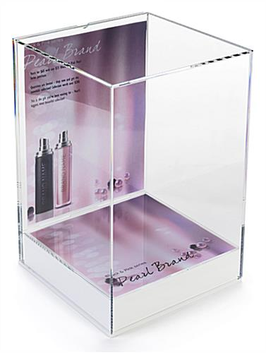 Tabletop acrylic display box with label & spot of base graphic
