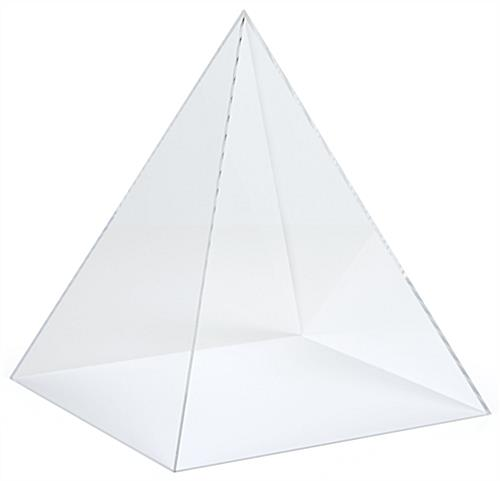 Small acrylic pyramid display with lift-off loading style