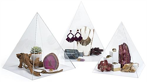 Small acrylic pyramid display case with various size options