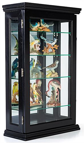 Locking small wood curio cabinet