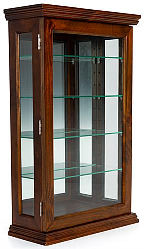 Dark cherry curio cabinet for countertop or wall mounted placement