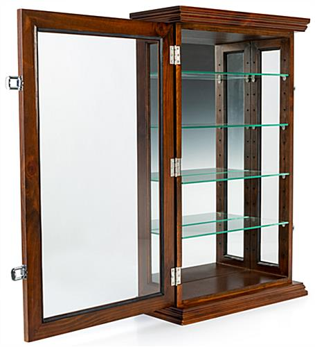 Dark cherry curio cabinet with locking hinged door