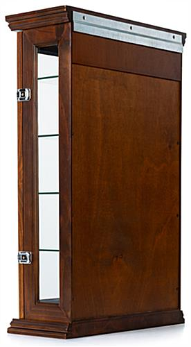 dark cherry curio cabinet with included Z bars for wall mounted placement