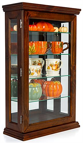 Dark cherry curio cabinet with 4 adjustable glass shelves