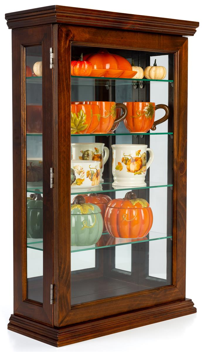 Dark Cherry Curio Cabinet 4 Adjustable Glass Shelves