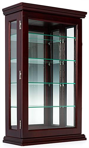 Mahogany countertop curio cabinet with 4 glass shelves