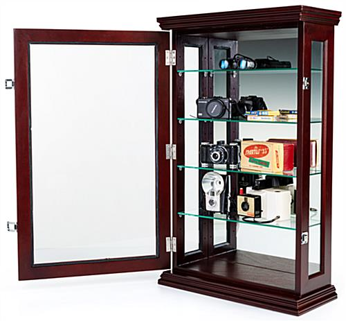 Mahogany countertop curio cabinet with reflective back