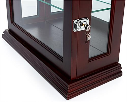 Mahogany countertop curio cabinet with hinged locking glass door