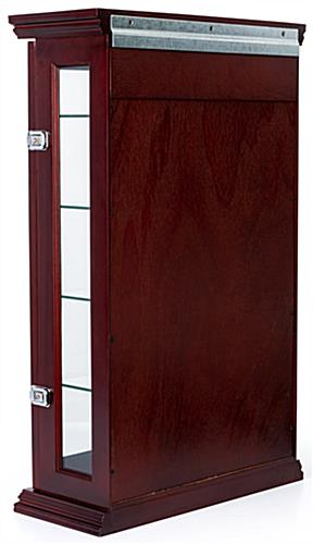 Mahogany countertop curio cabinet with hardware to wall mount