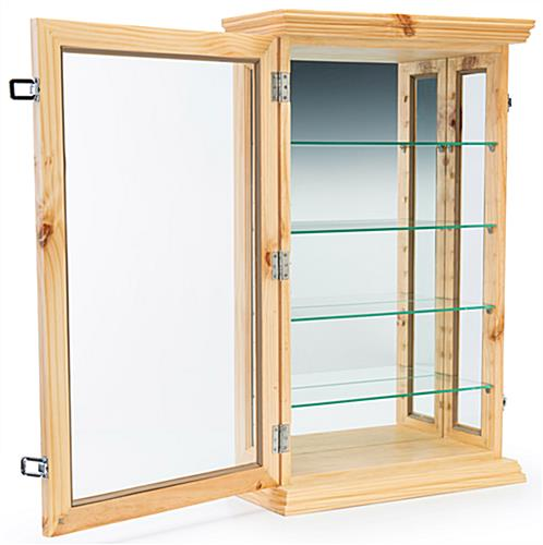 Mirrored curio counter cabinet with hinged door