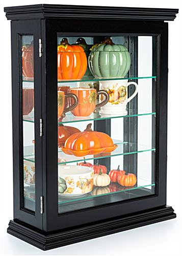 Curio wall cabinet with black finish
