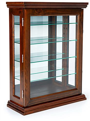 Cherry mirrored curio display with 4 adjustable glass shelves