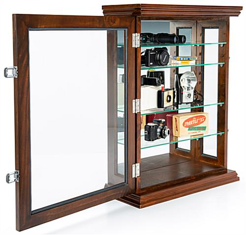 Lockable cherry mirrored curio display
