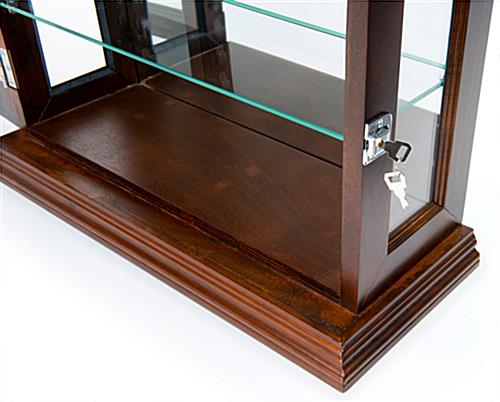 Cherry mirrored curio display with dual security locks and key