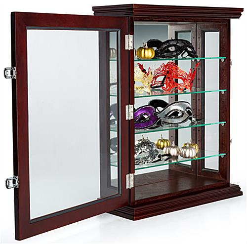 Mahogany wall curio with locking hinged door