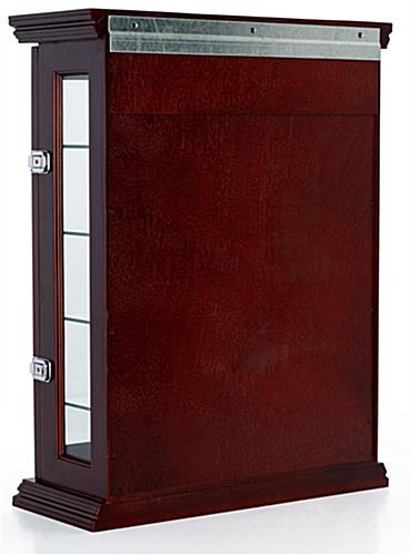 Mahogany wall curio with Z bar for mounting
