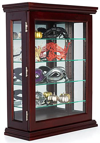 Mahogany wall curio with reflective back
