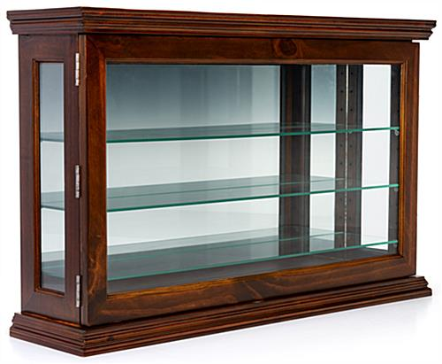 Dark cherry mirrored display case with reflective backer