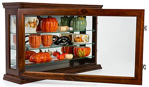Lockable dark cherry mirrored display case