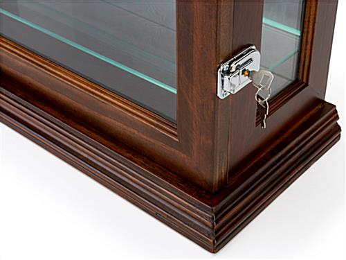 Dark cherry mirrored display case with dual security locks