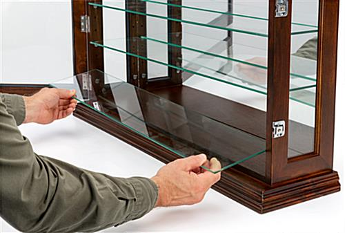 Dark cherry mirrored display case with 3 adjustable glass shelves