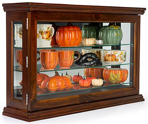 Dark cherry mirrored display case for wall or countertop placement
