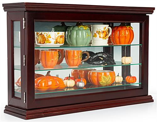 Curio china display cabinet with mahogany finish