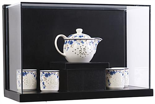 Antique Chinese Tea Set Inside Museum Style Wall Mount Shadow Box