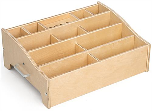 Kids Art Supply Storage with Wood Finish