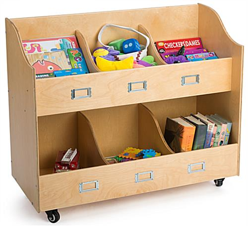 Kid's Book Cart with 6 Storage Pockets