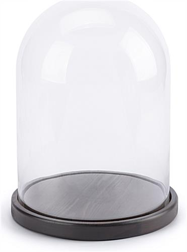 Dark brown finish glass domes with bases have 12.5 inch inside display area