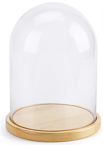 Natural Finish Pine Wood Glass Domes and Bases