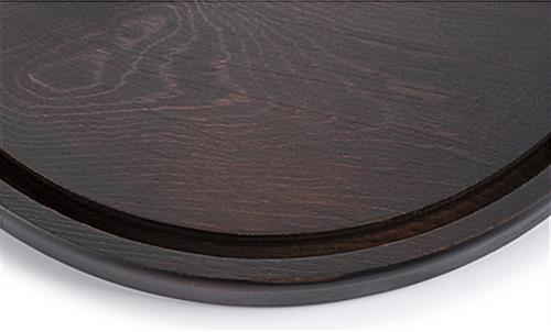 Glass dome wood bases have recessed groove
