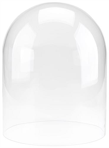 Baseless glass display cloche with 12 inch diameter