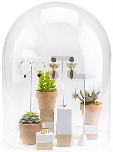 Glass display cloche with lift-off top