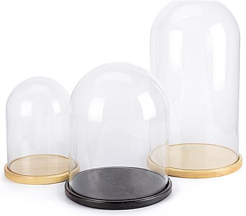 Glass domes with bases available in three sizes