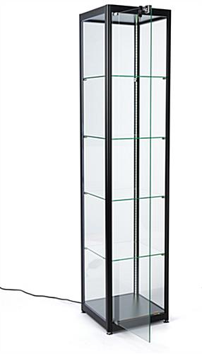 glass curio cabinet display tower with hinged door