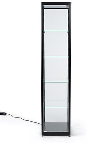 glass curio cabinet display tower with four tiers