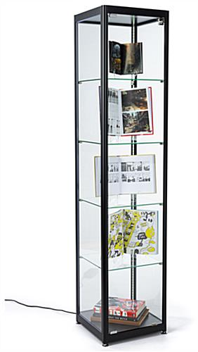 contemporary styled glass curio cabinet display tower
