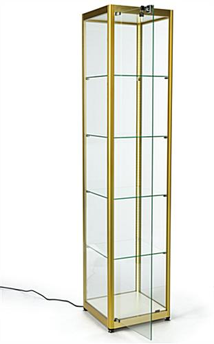hinged single door full glass narrow tower