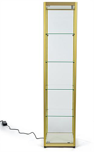 full glass narrow tower with four-tier shelving