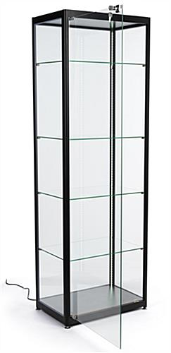 black glass curio display cabinet with single door