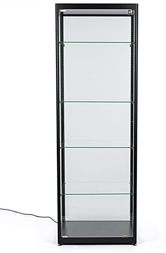 four tier black glass curio display cabinet