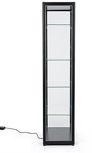 wide black glass curio display cabinet
